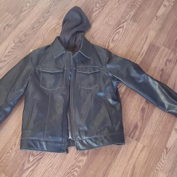 Levi's lined leather jacket medium brown hoodie